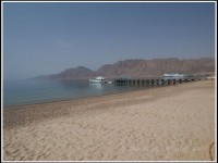 ... the view from the beach to the port of Nuweiba